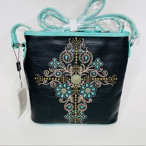 Montana West Conch Cross Black Turquoise Bag